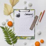 1-2021 Hand Lettered Calendar