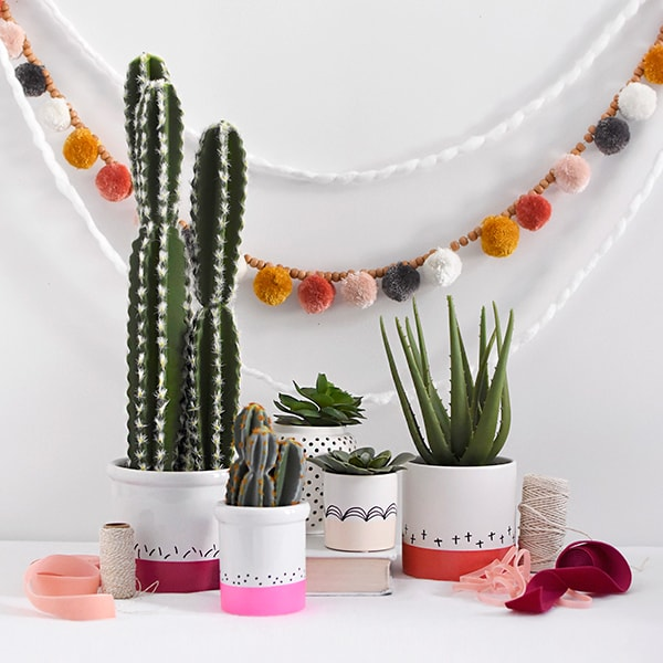How to make Color Block Cactus Pots