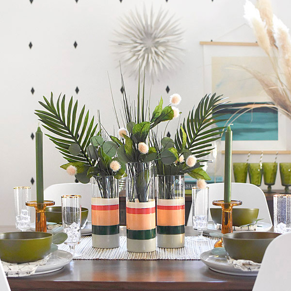 Color Blocked Vase Table Setting