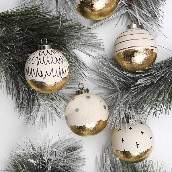 Gold Leaf Christmas Ornaments