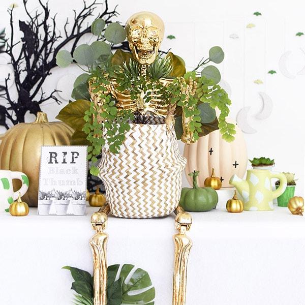 Gold Plant Lady Skeleton