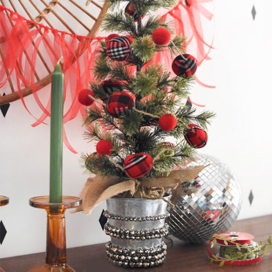 Jingle Bell Tabletop Christmas Tree Pot