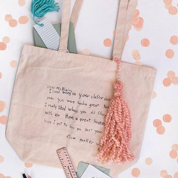 Printed Letter Tote Bag