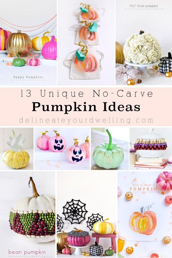 Colorful No Carve Pumpkins Ideas