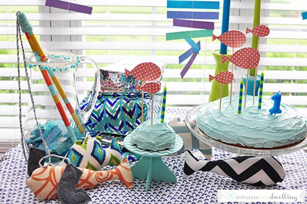How to create a fun Fish Themed Birthday Party for your little one's big celebration! Delineate your dwelling #fishparty #firstbirthday