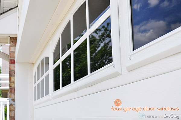 Fake Garage Door Windows at your home in no time at all! And adding faux windows are an inexpensive way to upgrade your home's curb appeal! Delineate Your Dwelling #fauxgaragedoorwindows #curbappeal