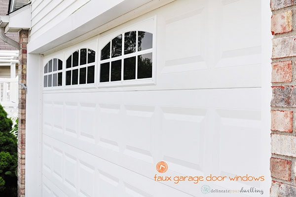 Easy DIY Faux Garage Door Windows at your home! And adding faux windows are an inexpensive way to upgrade your home's curb appeal! Delineate Your Dwelling #fauxgaragedoorwindows #curbappeal