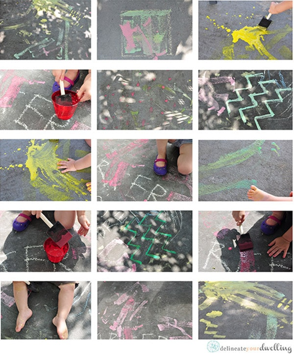 Learn how to make easy, fun and entertaining Homemade Sidewalk Chalk Paint with your kids this summer! Plus, it washes right off for simple cleanup. Delineate Your Dwelling #Homemadechalkpaint #kidpaint #chalkpaint