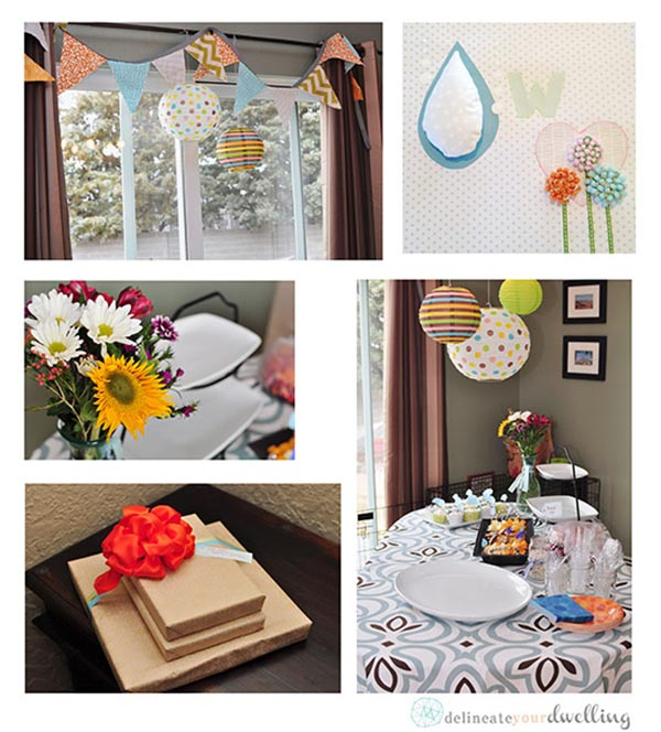 "Learn how to plan and create the perfect ""Raining Down Love"" themed Baby Shower for that special expecting mama! Plus, a few ideas for party nursery decor. Delineate Your Dwelling #rainingdownlove #rainingdownlovebabyshower"