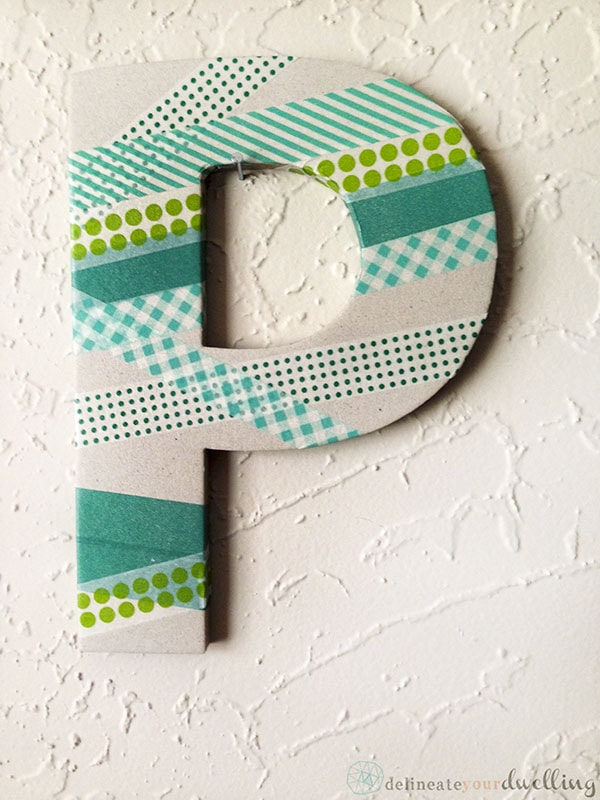 Paper Mache DIY Washi Tape Letter wall decor