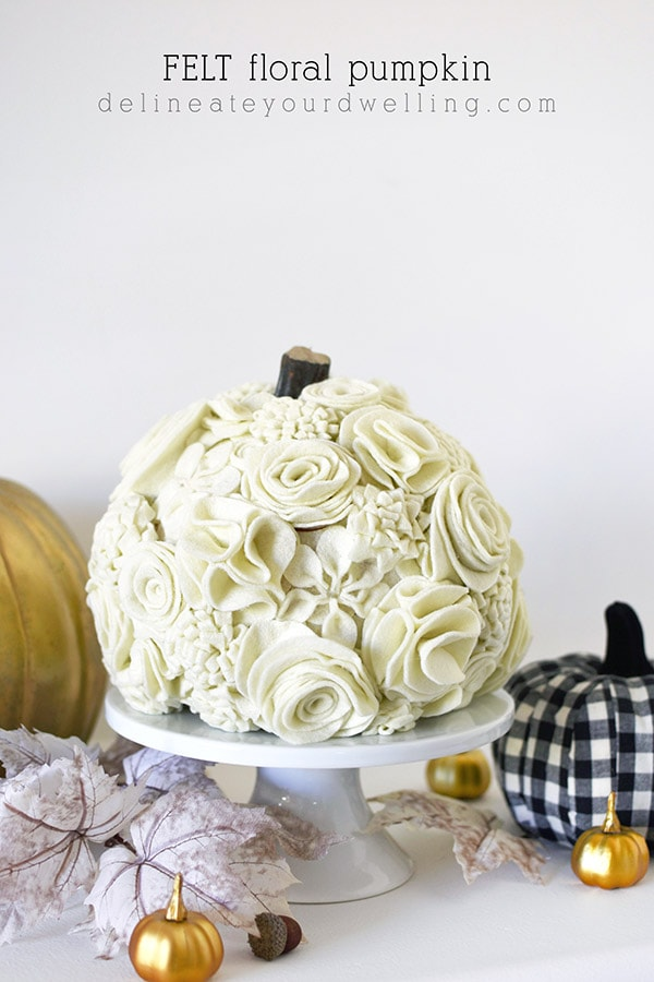 Cream Floral Felt Pumpkin