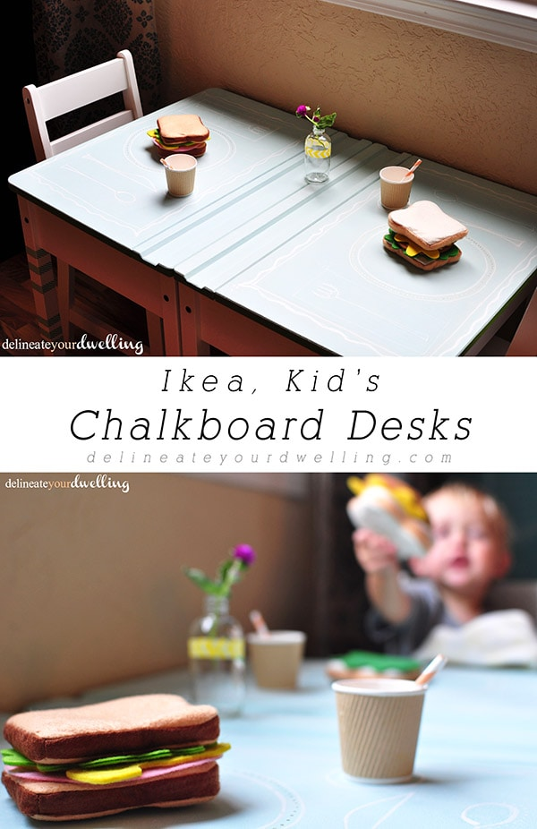 Learn how to create adorable DIY IKEA Chalkboard Desks for your children. Find out how to get a colored chalkboard paint and let your imagination run wild. Delineate Your Dwelling #IKEAChalkboard #IKEAdesk #IKEAkiddesk