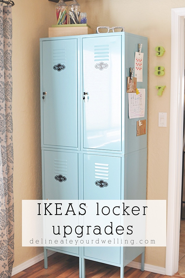 See how to best organize and update your metal IKEA lockers!  Tips for what to store in your lockers and what containers are best to use. Delineate Your Dwelling #IKEAlockerorganization #lockerorganization