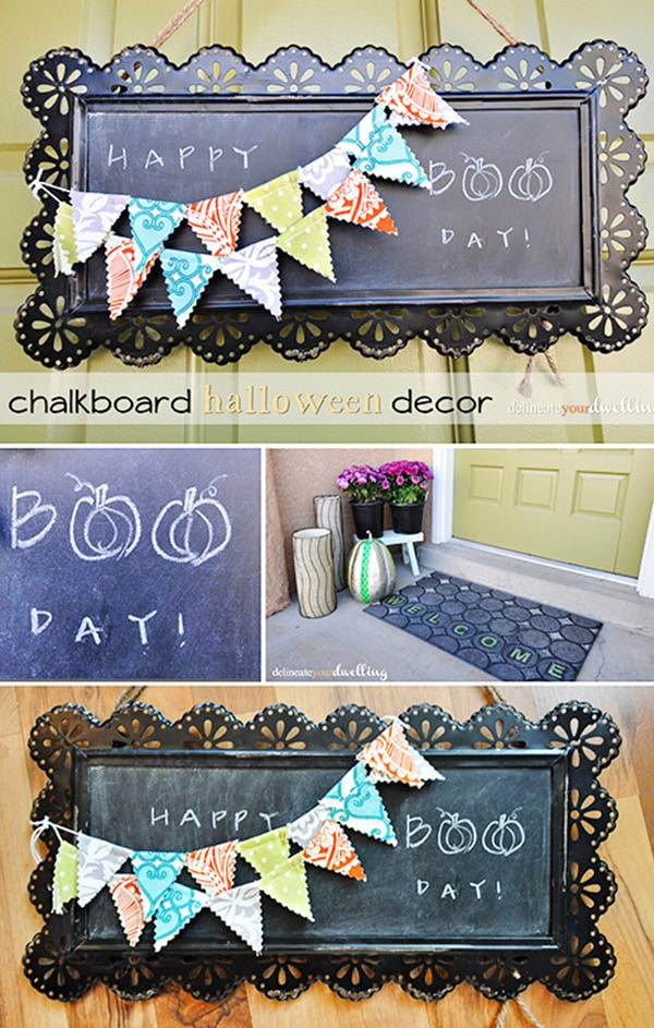 Chalkboard Halloween door sign