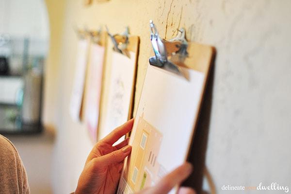 Clipboard Gallery Wall hanging, delineateyourdwelling.com