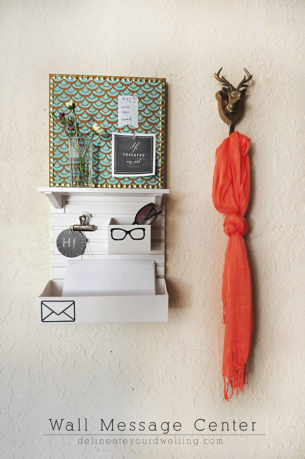See how to create a personalized Wall Message Center to help keep yourself organzied! Hang it near your front door or main drop-off area in your home. Delineate Your Dwelling #wallmessagecenter #frontdoororganize #marthastewartorganize #dropoffzone
