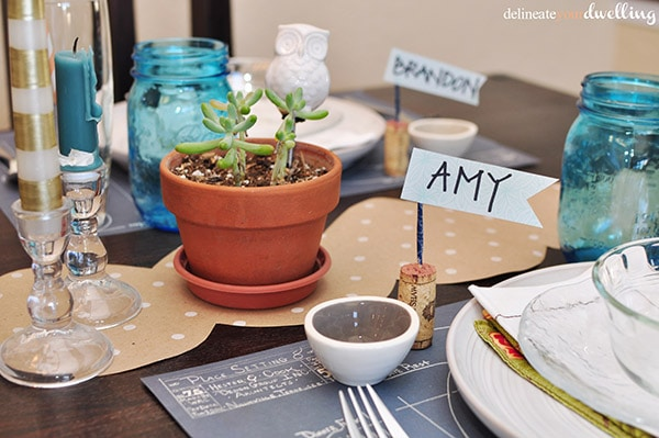 Plant and Thanksgiving wine cork name card