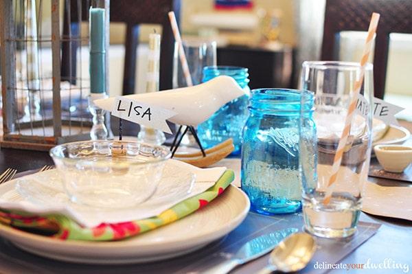 Blue Mason Jar thanksgiving table decor
