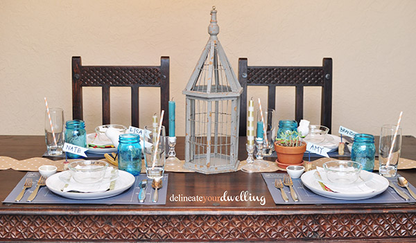 Blue and White Thanksgiving table layout and birdcage