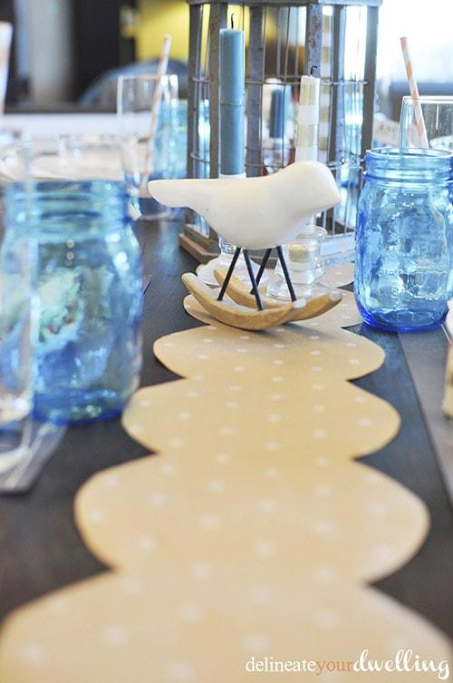 Blue thanksgiving table setup