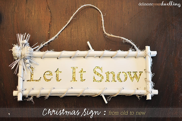 White and Gold Let It Snow sign