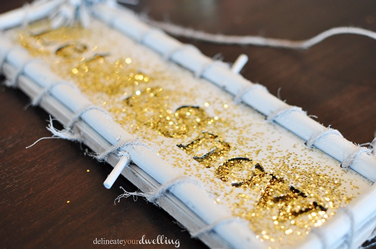White sign with Gold Glitter