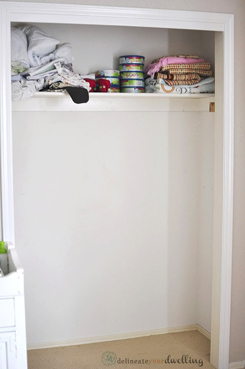 Kid's Shared Closet before, Delineateyourdwelling.com