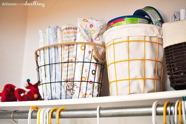 Kid's Shared Closet metal bins, Delineateyourdwelling.com