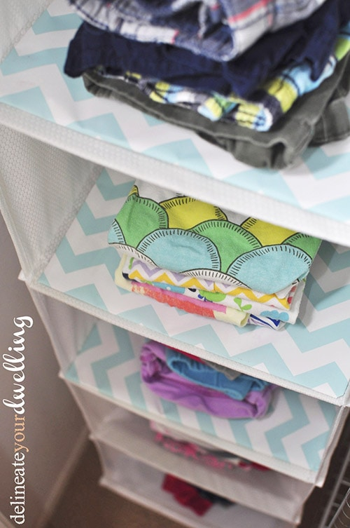 Kid's Shared Closet organized clothes, Delineateyourdwelling.com