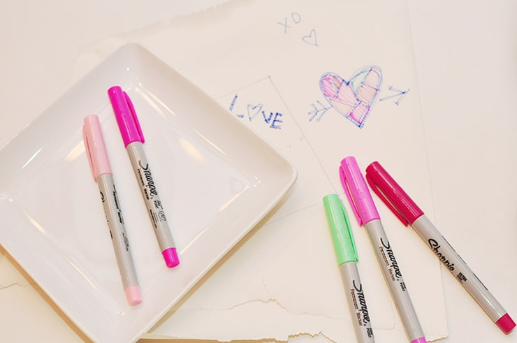 Sharpie Valentine's Day Dish supplies, Delineateyourdwelling.com