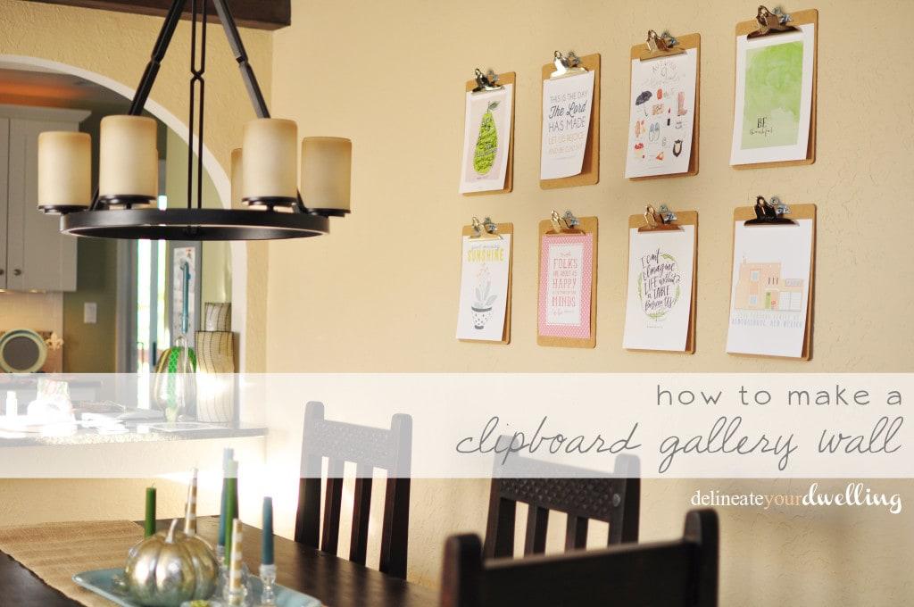 Clipboard Gallery Wall, Delineateyourdwelling.com