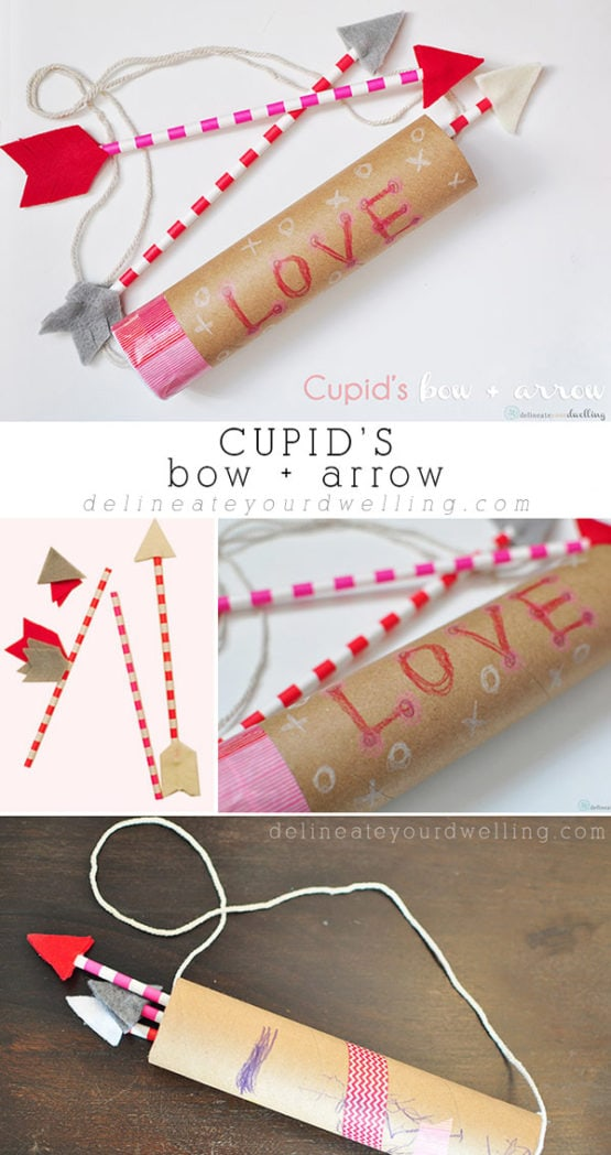 INSIDE :Learn how to make a Valentine's Day DIY Cupid's Bow and Arrow craft with your kids! Also these would be such fun decor for a Galentine's Day party. Delineateyourdwelling.com