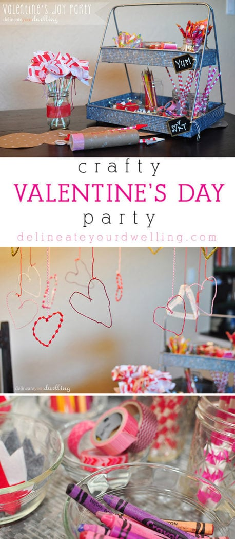 Create a fun and memorable creative DIY Valentine's Day Party for your kiddos to enjoy! From Cupid's Bow and Arrow crafts, to napkin flowers, there is something for everyone to enjoy. Delineateyourdwelling.com #valentinesparty #loveparty #valentinesdayparty