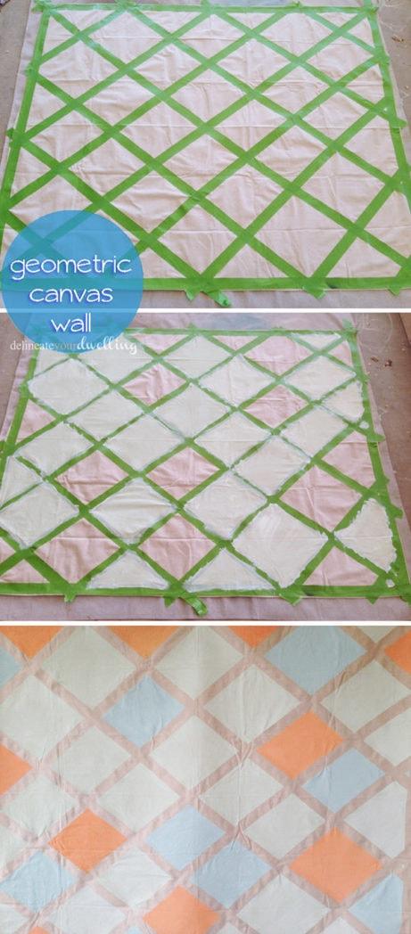 Geometric canvas wall steps