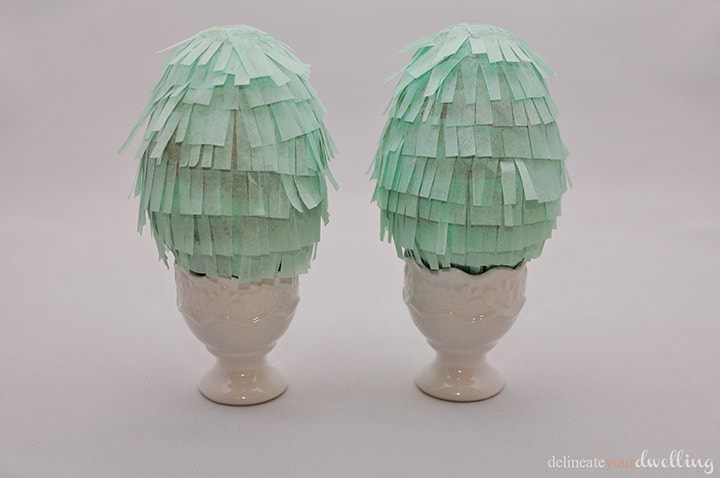 Learn how to make gorgeous tissue paper Fringe Easter Eggs! Set them out on display at your Spring Table or hide them during your Egg Hunt. Delineate Your Dwelling #fringeegg #fringeEasterEgg