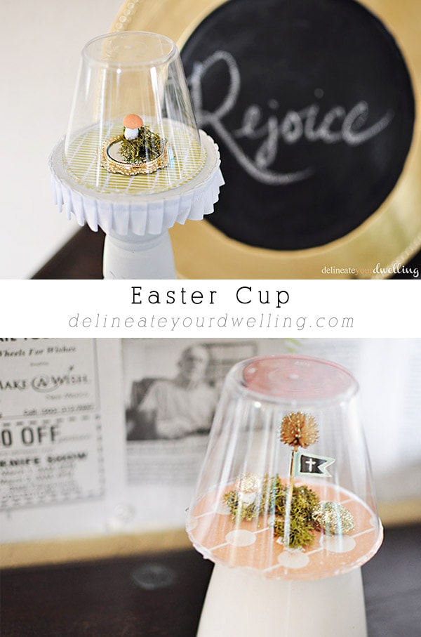 How to make adorable Easter themed snowglobe Cups. Similar to a snowglobe but for Spring time! Perfect to set out on display or give as a gift. Delineate Your Dwelling #Easterglobe #springcraft