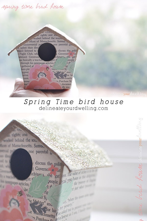 Learn how to make a colorful Spring time Bird House using upcycled old book pages, scrapbook paper and a little silver glitter! Delineate your dwelling #springbirdhouse #birdhousecraft