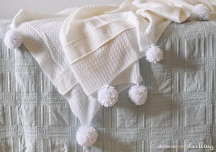 Yarn Pom Pom Throw Blanket