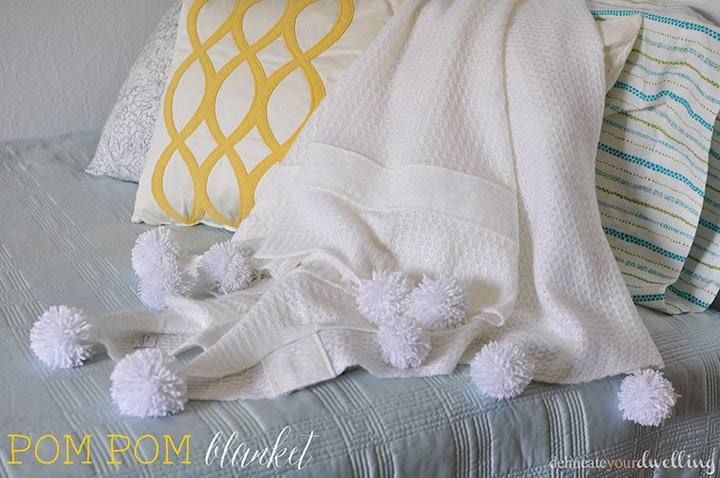 Pom pom blanket and pillows