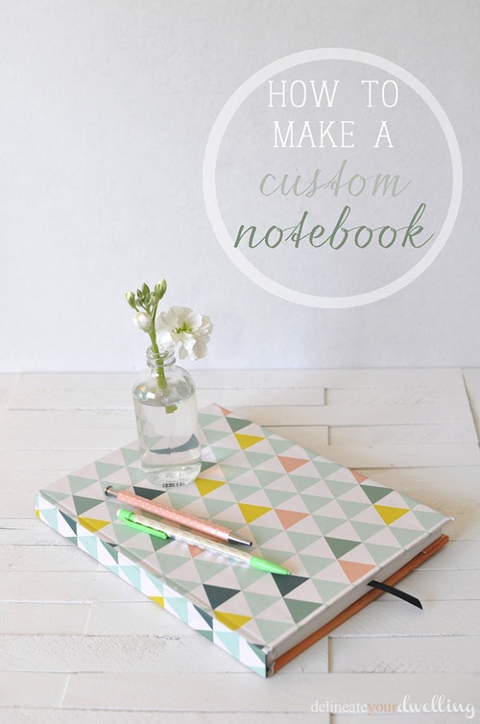 Learn how to customize your notebook cover in a few simple steps using fun and colorful scrapbook paper! Personalize your notebook to reflect your style. Delineate Your Dwelling #customnotebook #DIYnotebook #DIYcover