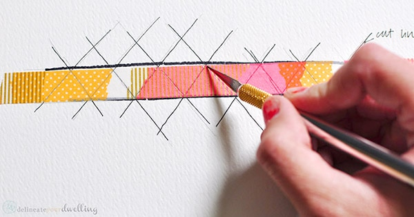 Washi Tape Pineapple print step 1