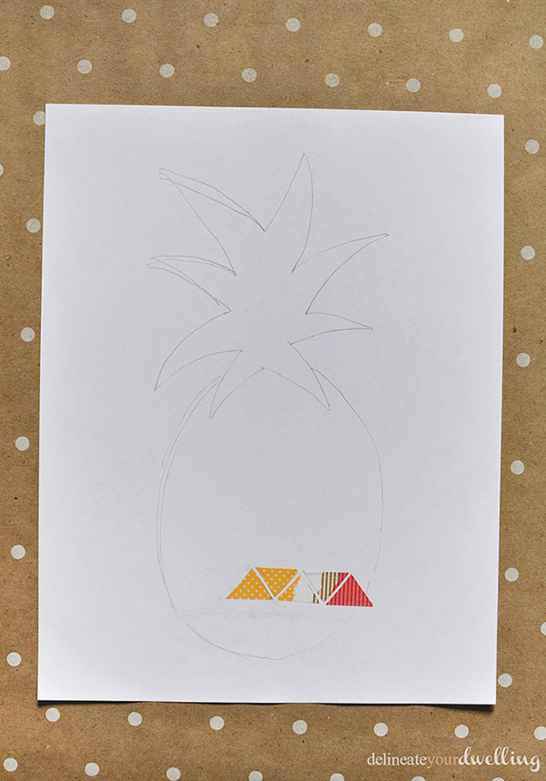 Washi Tape Pineapple print step 2