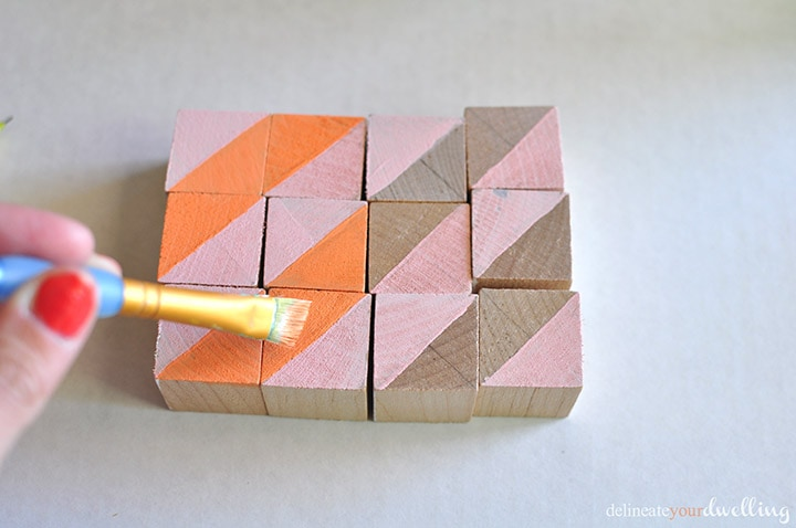 Pink and Orange stripe - Painted Geometric Blocks, Delineate Your Dwelling