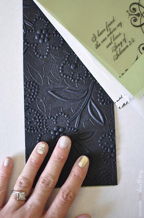 Black Embossed Paper Wedding Invitations