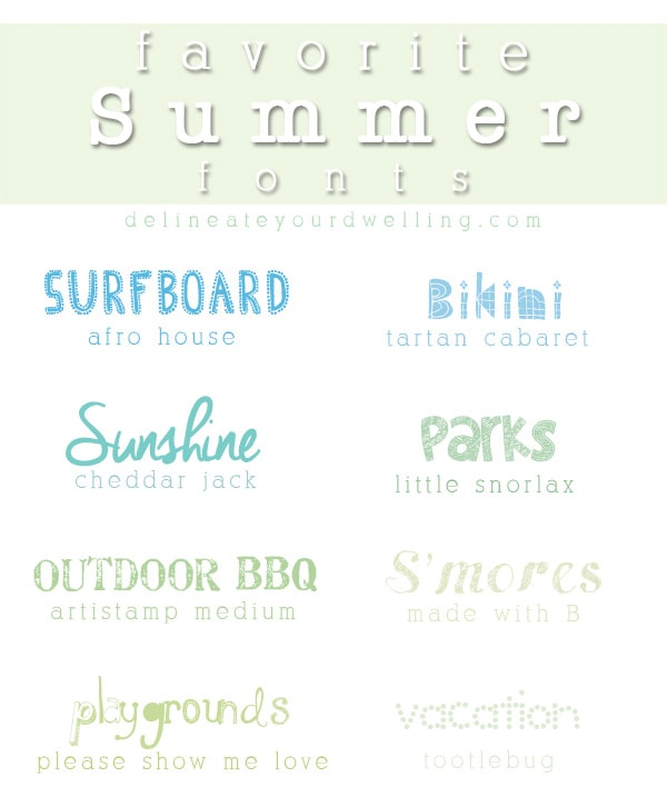 Check out these fun EIGHT free Summer Fonts available for download. Create summer invitations, notes and many other fun summery items!  Delineate Your Dwelling #sumerfonts