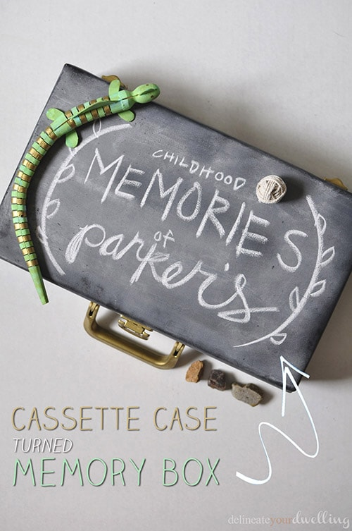 Learn how to take an old Cassette Case and repurpose it into a fun chalkboard Memory Box to fill with special treasures and mementos. Delineate Your Dwelling #memorybox #DIYcassettecase #chalkboardbox