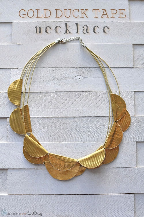 Learn how to make a Gold Scallop Necklace from regular Duck Tape!  It's the ultimate DIY craft project and your friends will never know what it is really made of. Delineate Your Dwelling #ducktapecraft #goldscallopnecklace