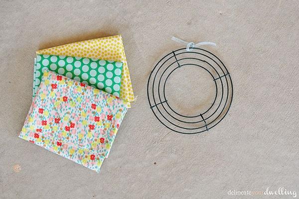 Summer Fabric Wreath supplies