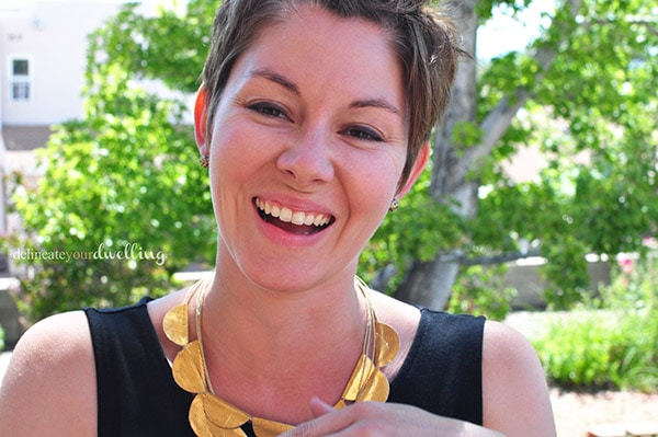 DIY Gold Duck Tape Necklace, laughing