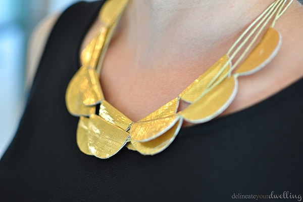 Close up Gold Duck Tape Necklace, Delineate Your Dwelling